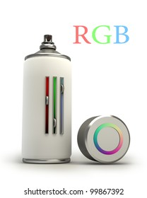 concept RGB spray can isolated on white background 3d High resolution.