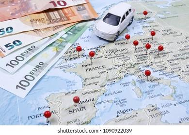 Concept of roadtrip in Europe