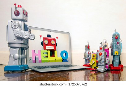 concept robot kids learn code at home on there laptop