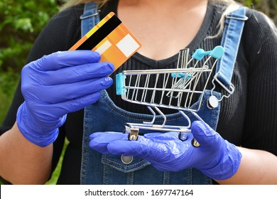 Concept of safer payment method for shopping during a pandemic