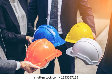 concept of safety project of workman as engineer or worker,Industrial Safety and Construction Standards. Business People Team and Engineer or Technician  meeting or start up project,deal with partner