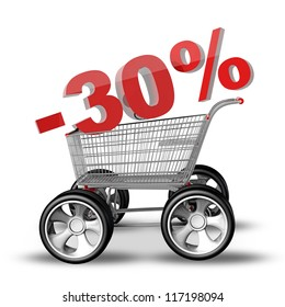 Concept SALE discount 30. shopping cart with big car wheel High resolution 3d render