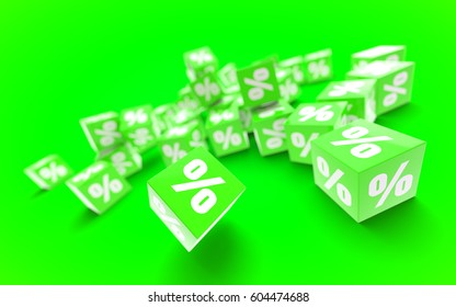 Concept of sale poster. Green cubes with percent symbol on green background with depth of field. 3D discount illustration.