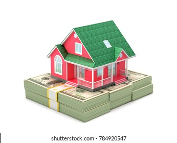 Concept of sale and purchase of housing. Classic house on bundles of hundreds of dollars. 3D illustration