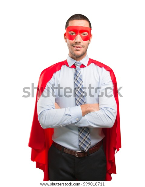 Concept of a satisfied super businessman