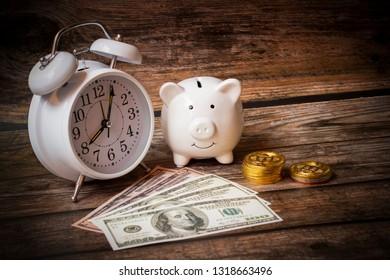 Concept save money dollars, Deposit piggy Bank ,Business Finance,Money of shopping, Growing money concept