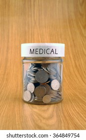 concept of saving, coins in jar with medical label on wooden background.