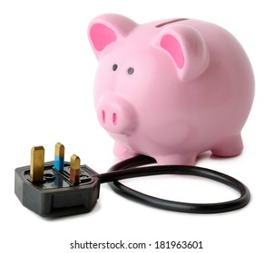 concept of saving energy a piggy bank with a plug isolated on a white background