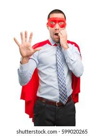 Concept of a scared super businessman