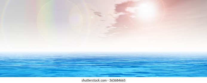 Concept sea or ocean water waves and rainbow sky cloudscape exotic or paradise background banner metaphor to nature, peace, summer, travel, tropical, tourism, environment, vacation or holiday seascape