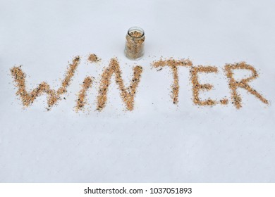 Concept: A seed message in the snow - feed the birds
