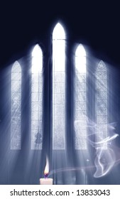 Concept for seeing the light and the power of Prayer, as light streams through Church window onto cross and highlights smoke from Prayer Candle