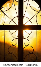 Concept for seeing the light, as light streams through Church window , Holy Cross