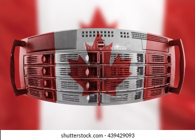 Concept Server with the Flag of Canada for use as local or country internet and hardware security image idea