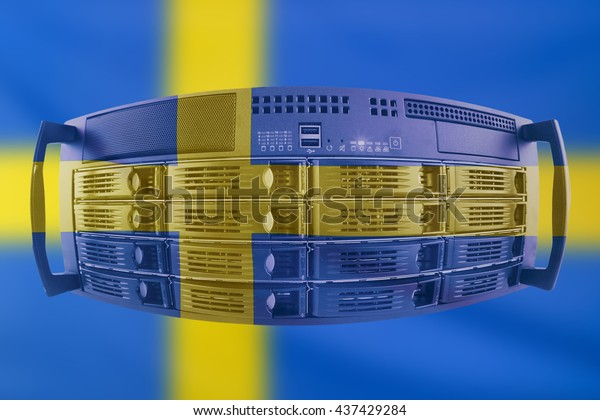 Concept Server with the Flag of Sweden for use as local or country internet and hardware security image idea