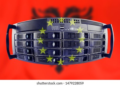 Concept Server with the Flags of Europe and Albania for use as country or european internet and hardware security image idea