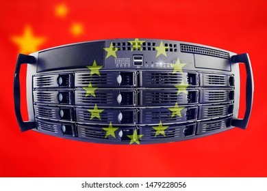 Concept Server with the Flags of Europe and China for use as country or european internet and hardware security image idea