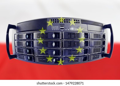 Concept Server with the Flags of Europe and Poland for use as country or european internet and hardware security image idea
