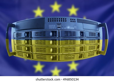 Concept Server with the Flags of Europe and Ukraine for use as country or european internet and hardware security image idea