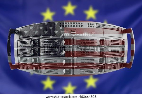 Concept Server with the Flags of Europe and USA for use as country or european internet and hardware security image idea