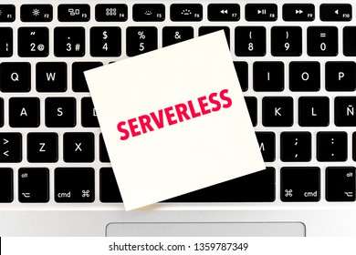 Concept of Serverless computing technology with keyboard on the background