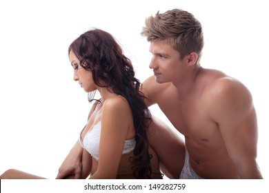 Concept of sexual crisis - upset young couple