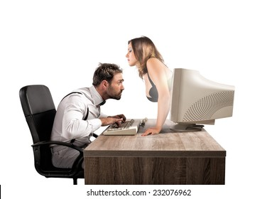 Concept of sexy chat with a woman that exit from a monitor