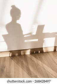 concept, shadow on the wall of a woman sitting at his desk and working on her laptop