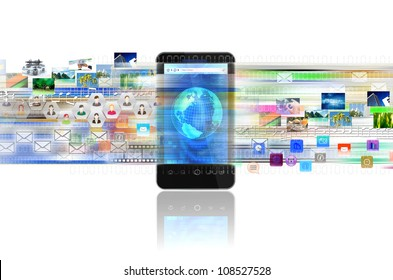 A concept of sharing digital content, entertainment, networking and doing business in a smart phone