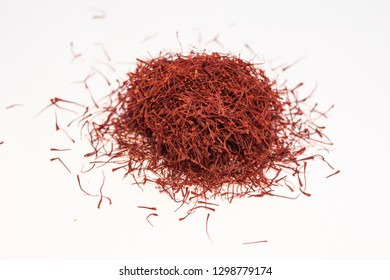 Concept Shot Macro Clean Light on white background with Iran saffron looks great, blur