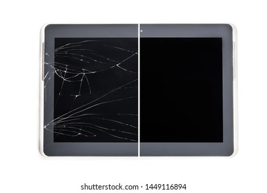 Concept  showing broken tablet screen vs tempered-glass protected