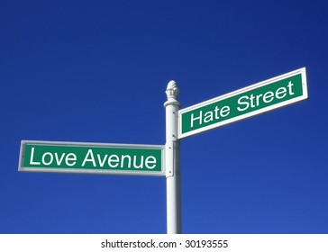 Concept sign of love or hate against a clear blue sky