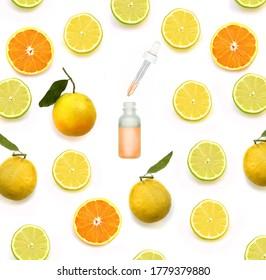 concept-  skin lightening, skin whitening, fruit acids,AHA, Skin Brightening.Colorful of fresh lemon slices . Photography collage.