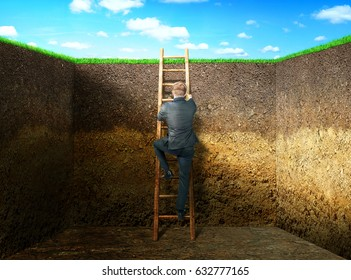 The concept of the solution. A man in a suit climbs the ladder from the pit. The concept of exit.