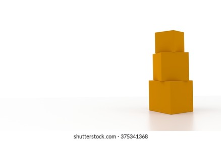 Concept of some orange boxes isolated on a white background.