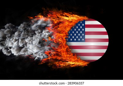 Concept of speed - Flag with a trail of fire and smoke - United States