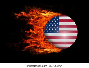Concept of speed - Flag with a trail of fire - United States