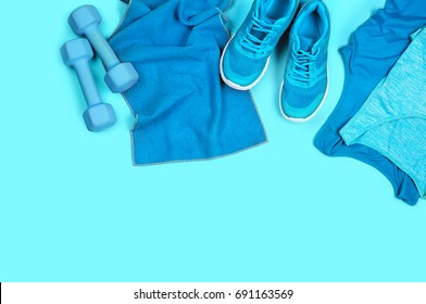Concept of sportive lifestyle in blue color spectrum