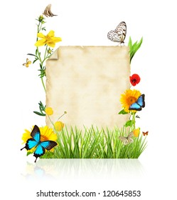 Concept of spring with blank paper for text. isolated on white background