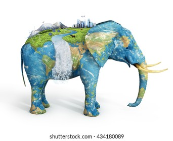 Concept of stability. Future city on textured elephant's back isolated on white background. City, mountains, animals, solar panel on covered grass elephant.  Eco concept.