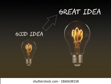 Concept for start up and business idea, Creative idea, new idea, innovation and solutions. Team building, motivation. Small and big light bulb standing for good and great idea