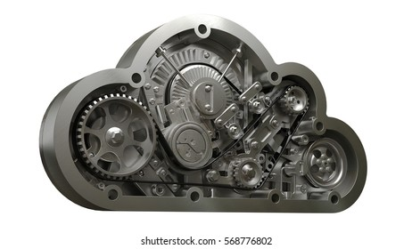 concept. steel cloud engine of car isolated on white background. High resolution 3d