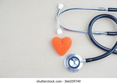 concept with stethoscope and heart shape