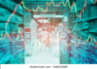 Concept of stock market volatility and investment, competition and service in the retail business, market adjustment planning take off,  