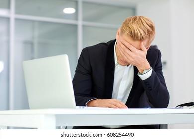 The concept stress crisis depression failure in business. Busine