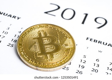 The concept of success of cryptocurrency in 2019. Bitcoin is the currency of the future. Bitcoin coin on the 2019 calendar.