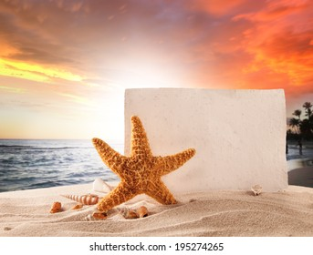 Concept of summer beach with starfish, shells and empty paper on sand