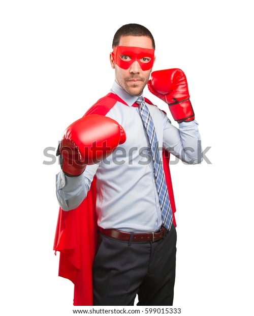 Concept of a super businessman fighting