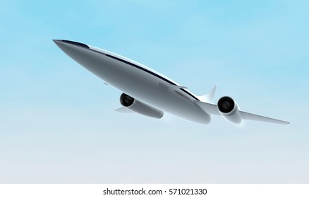 Concept of supersonic jet aircraft. 3D rendering illustration.