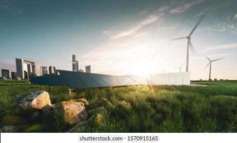 Konzept einer nachhaltigen Energielösung in schönem Sonnenuntergang. Framellose Solarpaneele, Akku-Energiespeicher, Windturbinen und Großstadt mit Skycraper im Hintergrund.